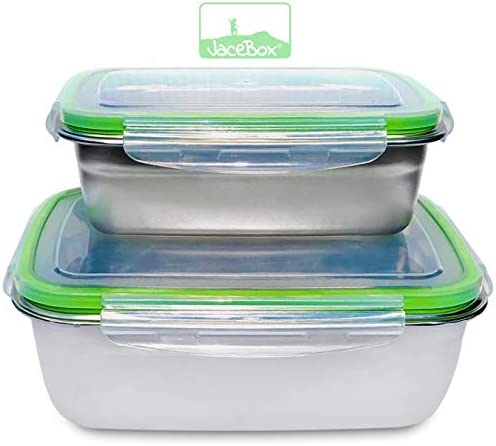JaceBox Stainless Steel Containers Bento Boxes New X Large and Large Lunch Box BPA Free Great product image