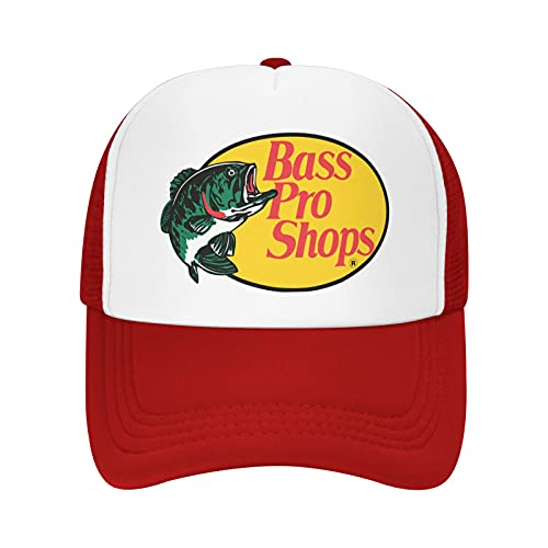 Bass-pro-Shops Trucker hat mesh Cap - one Size fits All Snapback Closure - Great for Hunting, Fishing, Travel, Mountaineering Red