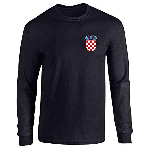 Croatia Soccer Retro National Team Sport Football Black L Full Long Sleeve Tee T-Shirt