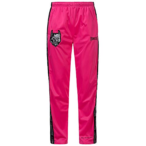100% Hardcore Trainingshose Branded, Pink Gabber Techno Sportpants Reflective Logo-Stripes (L)