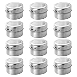 DOITOOL 12pcs Magnetic Spice Tins Stainless Steel Spice Containers Multi-Purpose Spice Storage Tins, Magnetic on Refrigerator and Grill (Dull Polish)