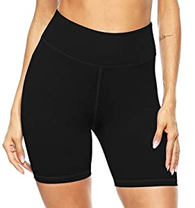 Persit Yoga Shorts for Women SpandexHigh Waisted Running Athletic Bike Workout Leggings Tight Fitness Gym Shorts with Pockets - Black - L from Persit