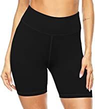 Persit Yoga Shorts for Women SpandexHigh Wasited Running Athletic Bike Workout Leggings Tight Fitness Gym Shorts with Pockets - Black - M