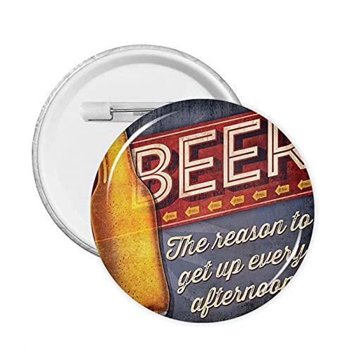 mengmeng Cartel de cerveza retro con 1 botón, 12 unidades, M redondo insignia de pecho alfileres broche para chaquetas, sombreros y mochilas decoración