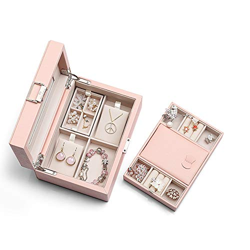 Vlando Mirrored Jewelry Box Organizer - 2-Layer Multi-Compartment for Necklaces Rings Earrings Jewelries Display Storage, Gift for Women Girls Ladies, Pink
