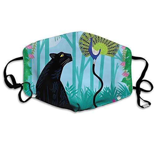 Dnwha polyester masker, de pauw en de panter, stofdicht masker, met knoppen om de dichtheid aan te passen, geschikt voor iedereen