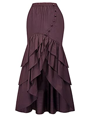 Belle Poque Vintage Steampunk Gothic Victorian Ruffled High-Low Skirt XL Wine