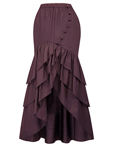 Belle Poque Vintage Steampunk Gothic Victorian Ruffled High-Low Skirt S Wine