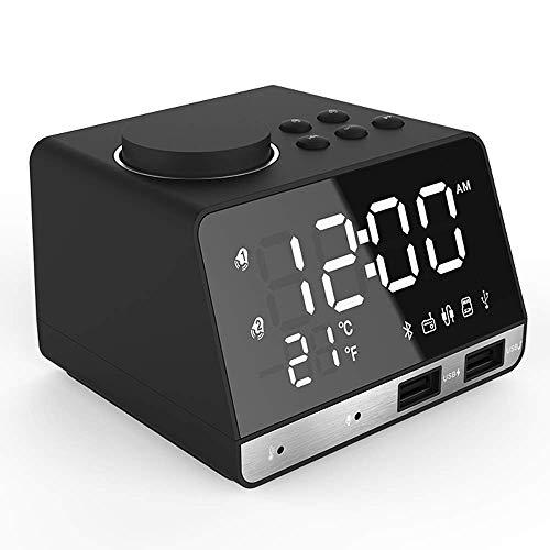 Portable Bluetooth Speaker, Mini Bluetooth Speaker, Bluetooth Speaker Wekker, Vervaardigd Uit Duurzame Materialen Dual USB Powered, Huis Bedside Kleine Luidspreker,Black
