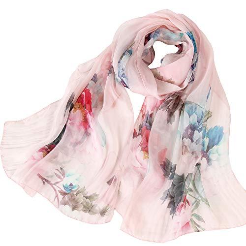 Seidenschals Damen 100% Seide Leicht Seidentuch Silk Schal Halstuch Tuch Geschenk Frauen 175 X 65cm (Rosa) MEHRWEG