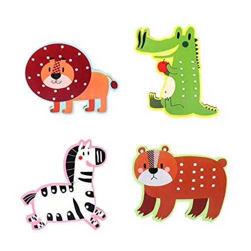 STOBOK Allacciatura in Legno Giocattolo Leone Zebra Coccodrillo Orso Animali Allacciatura Puzzle Infilatura attività Montessori Educativo Allacciatura Giocattoli per Bambini Bambino Bambino Bambini