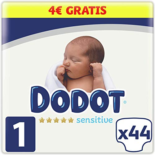 DODOT Sensitive Pañales Talla 1, 44 Pañales, 2-5kg, 8006540170656