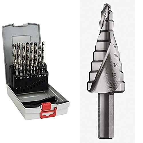 Bosch 2 608 587 013 - Set de 19 brocas para metal ProBox HSS-G, DIN 338, 135° - 1-10 mm (pack de 19) + Escalonada HSS (Metal y plástico, Ø 4-20 mm, Longitud 70,5 mm, Accesorios para Brocas)
