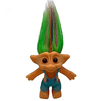 PVC Vintage Trolls Dolls Lucky Doll Action Figures Chromatic Adorable for Collections School Project Arts and Crafts Party Favors - 7.5  Tall Include The Length of Hair   Blue Suspenders