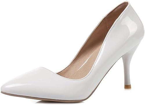 HLG Chaussures pour femmes à bout pointu en cuir verni talons aiguilles chaussures de mariage chaussures