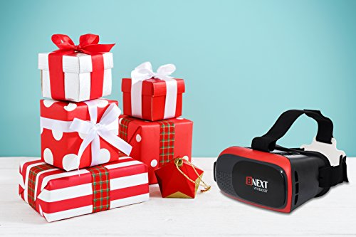 BNEXT VR Headset Compatible with iPhone & Android Phone - Universal Virtual Reality Goggles - Play Your Best Mobile Games 360 Movies with Soft & Comfortable New 3D VR Glasses   Red   w/Eye Protection