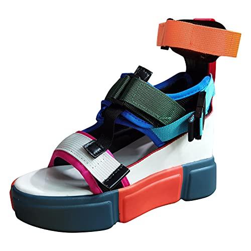 Sandalias de Vestir Sandalias Mujer Tacon Verano Correa de Tobillo Zapatos Cierre de Hebilla Punta Abierta Elegantes Sandalias Mujer Verano 2021 Sandalias cuña Mujer
