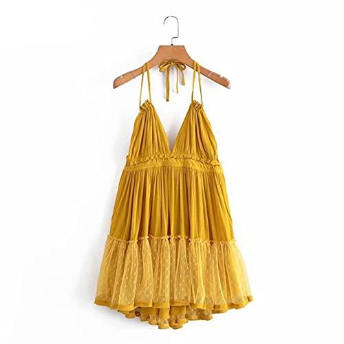 IJARL Backless Halter Sling Dress Women Mesh Patchwork Beach Dress Short Plus Size
