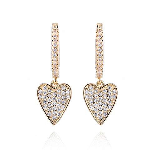 Yhhzw Pendientes De Gota De Corazón Clásicos De Oro Pendientes De Aro De Corazón De Circonita Cúbica Para Joyería De Mujer
