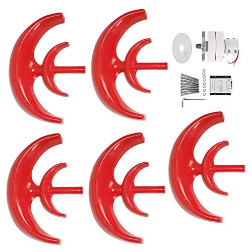Generador de turbina eólica,Kit de turbina eólica 1200W Generador de 5 palas Motor de CA Sistema solar Tipo de linterna Dispositivo productor de electricidad roja de doble capa para el hogar Barco Ca