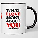 Sweet Sincere I Love You Coffee Mug Gift For Him, Her. What I Love Most About You. You're Mine. Romantic Tea Cup of Gratitude Appreciation. Husband, Wife. Boyfriend Girlfriend. Anniversary, Birthday.