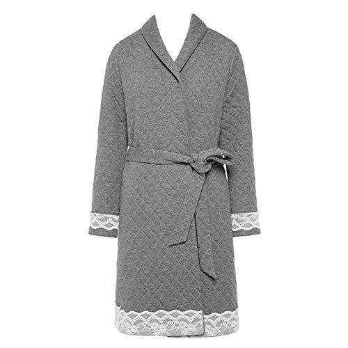 ZZUU Womens Kimono Robes Dames Badjas Lange mouwen Kant Robes Gewatteerde Warm Robe Badjas Dikke Katoen Jurk