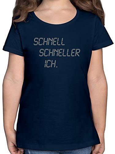 Sport Kind - schnell - schneller - ich - 116 (5/6 Jahre) - Dunkelblau - Sportshirt Kinder - F131K - Mädchen Kinder T-Shirt