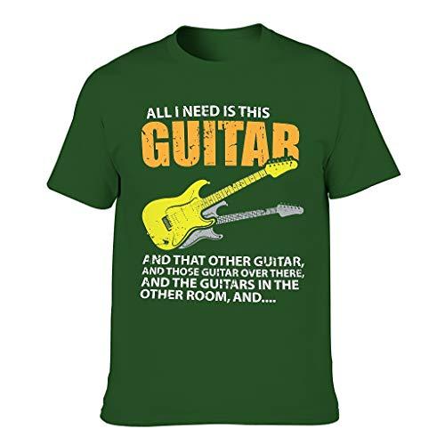 Camiseta de manga corta para hombre, con diseo de guitarra y texto en alemn 'All was ich brauch', ideal para disfraz Dark Green001. XXXXXL