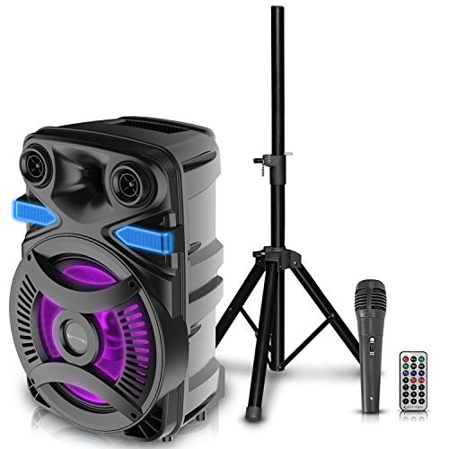 Technical Pro 3000 Watts Rechargeable 15 Inch Bluetooth LED Speaker Package w/Tripod & Microphone, LED Woofer, Telescoping Handle, SD/USB Inputs, TWS Stereo Sound, Wired Mic & Wireless Remote