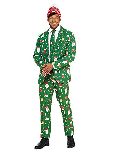 Opposuits Christmas Suits for Men in Different Prints – Santaboss– Ugly Xmas Sweater Costumes...