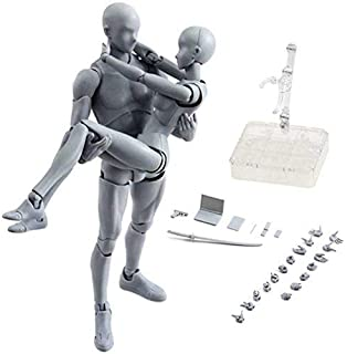 MiaoDuo Action Figures Body-Kun DX & Body-Chan DX PVC Model SHF(Grey Color Ver) with Box Drawing Figure Models for Artists(Female+Male)