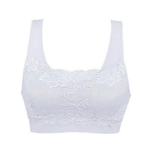 Litthing 1/2/3 Piezas Sujetadore Deportivo Encaje Sexy Transpirable Confort Yoga Deportes de Yoga para Mujeres(Blanco, XL