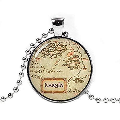 Heng yuan tian cheng collar con colgante de mapa de Narnia, collar de Narnia, joyería de Narnia, collar de mapa
