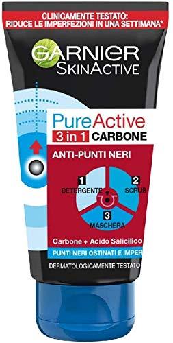 Garnier Pure Active Intense 3 in 1 Maschera Viso Punti Neri, Gel Detergente e Scrub Viso con Carbone Vegetale, 150ml