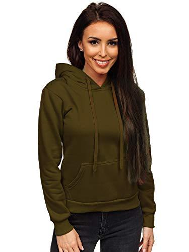 BOLF Damen Kapuzenpullover Sweatshirt mit Kapuze Sport Pullover Sweatjacke Hoodie Langarmshirt Farbvarianten Sweater Reißverschluss Fitness Training J.Style W02 Khaki L [A1A]