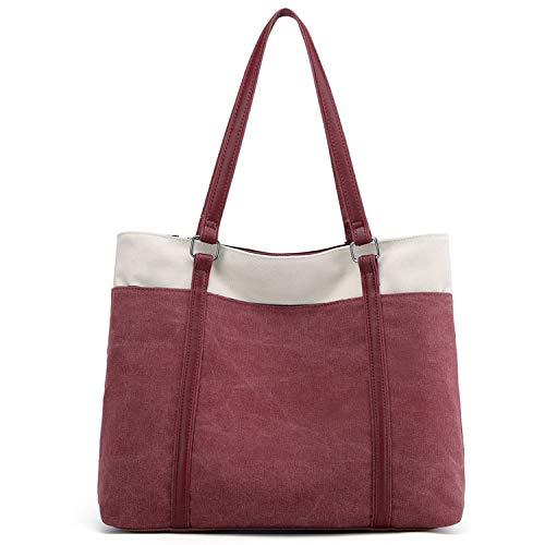 JANSBEN Damen Handtasche Schultertasche Canvas Casual Groß Tasche Shopper Elegant für Büro Schule Arbeit (Rosa)