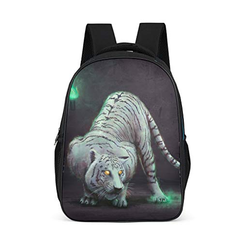 Tiger Artwork Causal Backpack for Teens Adults School Bags for Boys and Girls Gifts for Kids Book Bag Bright Gray OneSize