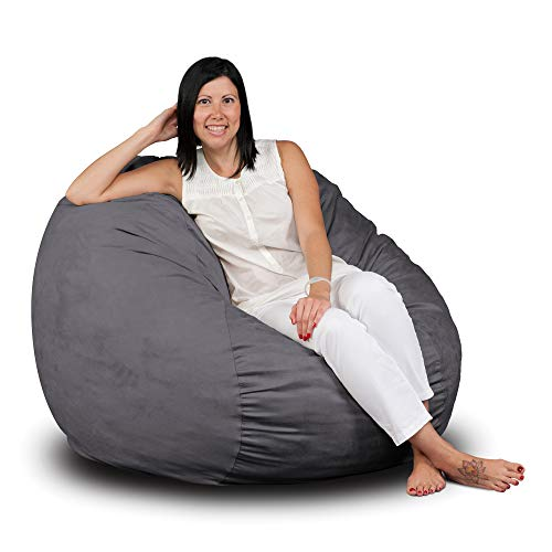 FUGU Bean Bag Chair, Premium Foam Filled 3 XL, Protective Liner Plus Removable Machine Wash Grey Cover