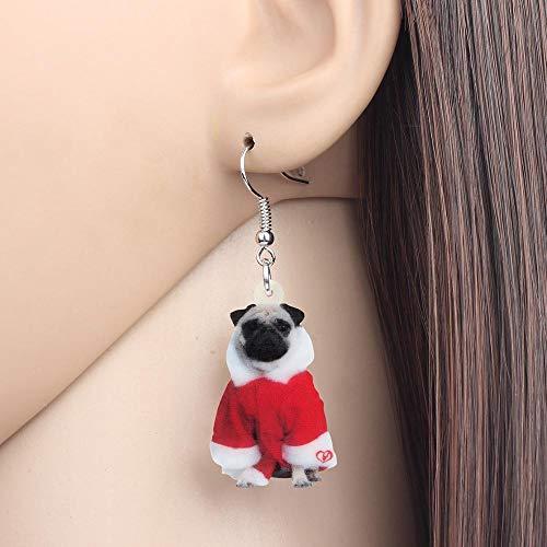 EHXWL Disfraz de acrílico de Navidad Vestido Pug Pendientes de Perro Drop...