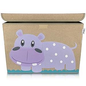 Lifeney baul juguetes infantil 51 x 36 x 36 cm I Caja con tapa para la habitación de los niños I almacenaje juguetes I caja juguetes almacenaje I baules infantiles (Hipopótamo)