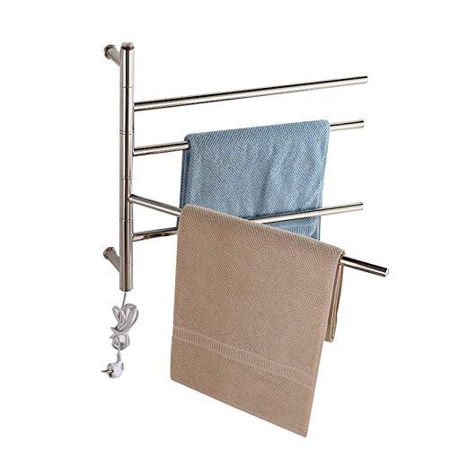 Radiador de toalla eléctrico giratorio, toallero eléctrico montado en la pared, estante...