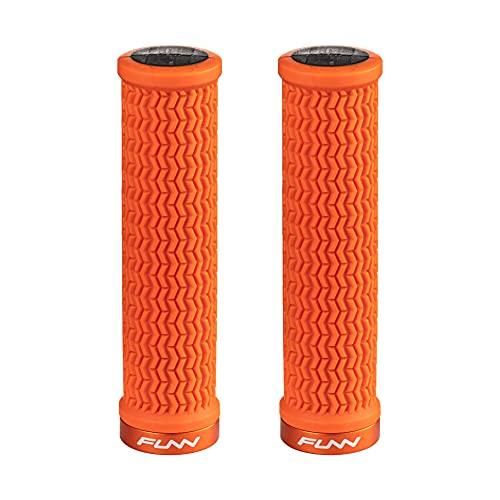 Funn Holeshot Mountain Bike Handlebar Grips with Single Lock-on Clamp, Lightweight and Ergonomic Grips for MTB (Orange)