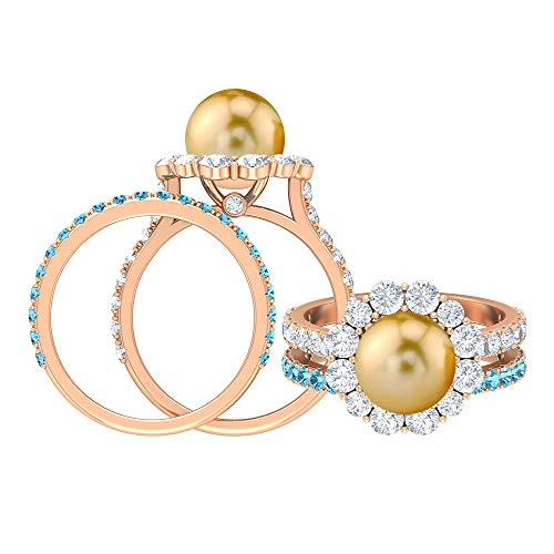Anillo de perlas y moissanita del Mar del Sur 4,5 CT, 1,8 mm redondo aguamarina banda de eternidad, anillo de oro nupcial conjunto (perlas redondas de 8 mm del mar del Sur), 14K Oro rosa, Size:EU 44