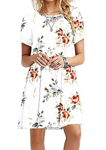 YMING Damen Mini Sommerkleid Kurzarm Longshirt Kleid Blumenkleid Weiß Blumen XL