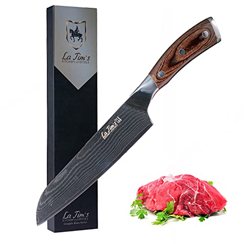 Latim's Santoku Knife 7 inch,Professional Damascus Chef Kitchen Knives Made of Japanese VG-10 Stainless Steel,Ergonomic Handle