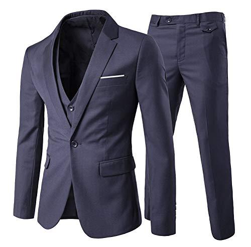 YOUTHUP Blazer Homme Slim Fit Formel Élégant Mode Moderne Costume d'affaires Mariage Bal, Gris Foncé, XL