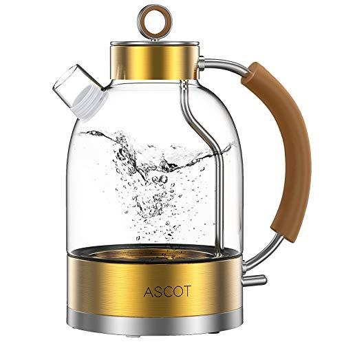Wasserkocher Glas, ASCOT Glas Wasserkocher Elektrischer Wasserkocher Edelstahl, 2200W, 1,6L, Retro Design, BPA frei, leiser Schnellkochkessel, Trockengehschutz und automatische Abschaltung(Gold)