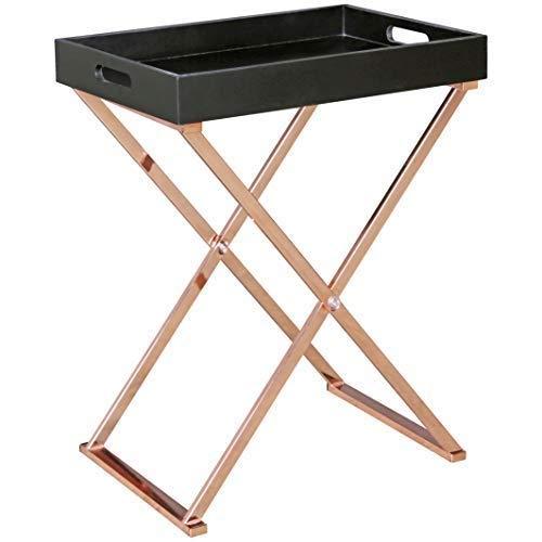 Wohnling–Mesa Auxiliar de TV Tray Plegable 48x 61x 34cm Negro/Cobre MDF, diseño: ohnzimmertisch con Bandeja–Mesa de café Modern   Bandeja Mesa Madera