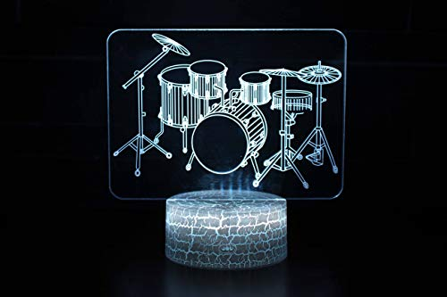 ISADCE Gift Night Light for Kids 3D Illusion Lamp Different 4 Pattern and 7 Color Change Decor Lamp with Touch & Remote Control for Best Birthday (Cracked Cool Base) Drum Set one