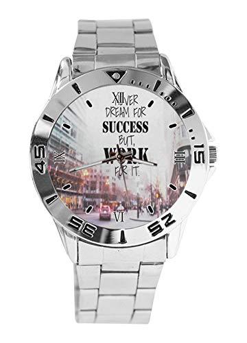 Never Dream of Success But Work for It Fashion - Reloj de pulsera deportivo para hombre, correa de acero inoxidable, analógico, de cuarzo